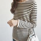 Stripe Round-neck Knit Top
