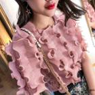 Frilled Short-sleeve Lace Top