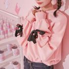 Heart-ribbon Accent Sweatshirt