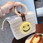 Smiley Woven Straw Beach Bag