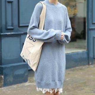 Mock Two-piece Long-sleeve Lace-trim Knit Dress