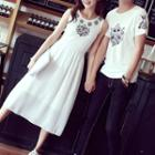 Couple Matching Printed Short-sleeve T-shirt / Printed Tank Dress