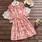 Corduroy Floral Collared Dress