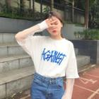 Mock Two-piece Letter Long-sleeve T-shirt