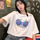 Printed Elbow Sleeve Cropped T-shirt