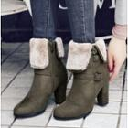 Belted Furry Chunky-heel Short Boots