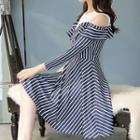Striped Cut Out Shoulder A-line Dress