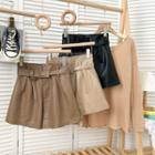 Faux-leather Wide-leg Shorts With Belt