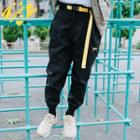 Belted Embroidered Jogger Pants