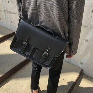 Faux Leather Satchel Black - One Size