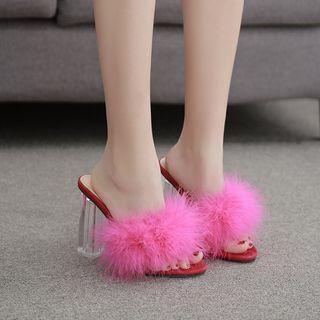 Furry Chunky-heel Slide Sandals