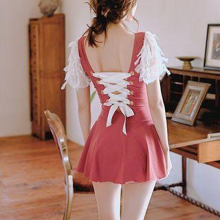 Short-sleeve Fringed Lace-up Swimdress