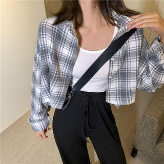 Long-sleeve Plaid Shirt / Slit-hem Boot-cut Jeans