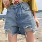 Distressed Embroidered Pineapple Denim Shorts