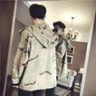 Hooded Camouflage Printed Parka