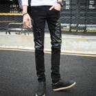 Faux Leather Panel Pants
