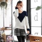 Colorblock Chevron Chunky Knit Sweater