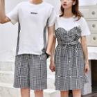 Couple Matching Short-sleeve Plaid Panel Dress / Short-sleeve Plaid Panel T-shirt / Plaid Shorts / Set