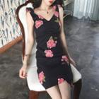 Sleeveless Floral Print Sheath Dress Black - One Size
