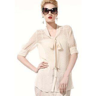 Bow-neck Chiffon Blouse