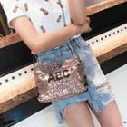 Lettering Sequined Crossbody Bag