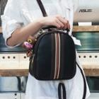 Faux-leather Striped Trim Backpack