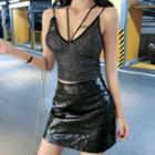 Spaghetti Strap Sequined Top Black - One Size