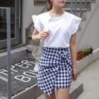 Knotted-front Check Mini Skirt