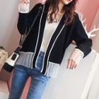 Two-tone Open Front Cardigan