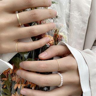 Set Of 4: Faux Pearl / Alloy Ring (assorted Designs) Set Of 4 - Ring - One Size