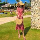 Ruffle Hem Dotted Sleeveless Sheath Dress