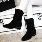 Genuine-leather Studded Short Boots