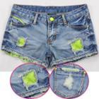 Mesh Panel Denim Shorts