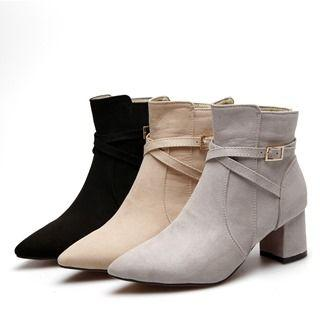 Chunky Heel Belted Short Boots