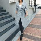 Wide-lapel Trench Coat With Sash