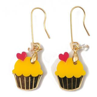 Sweet&co Mini Gold Yellow Cupcake Crystal Earrings Gold - One Size