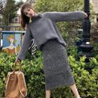 Turtleneck Sweater / Knit Midi Skirt