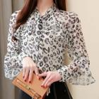 Long-sleeve Leopard Print Blouse