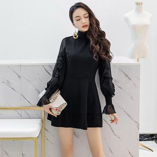 Bell-sleeve Mock Turtleneck Mini A-line Dress