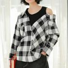 Mock Two-piece Long-sleeve Plaid Top Black & White - One Size