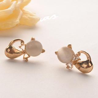 Cats Eye Little Cat Earring  Gold - One Size