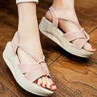Faux-leather Wedge Sandals