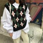 Inset Asymmetric-collar Shirt Patterned Knit Top