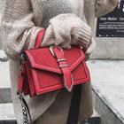 Trimmed Quilted Panel Flap-cover Shoulder Bag