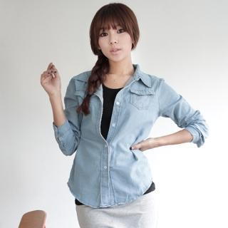 Dual-pocket Denim Shirt