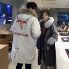 Couple Faux Fur-trim Printed Hooded Coat