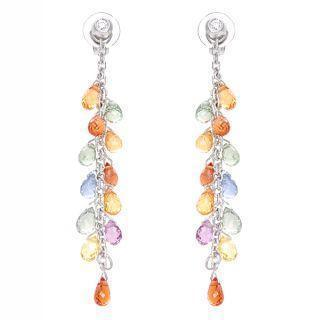 Diamond And Fancy Color Sapphire Embellished 18k White Gold Drop Earrings