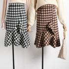 Houndstooth Ruffled A-line Skirt