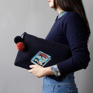 Oohlala - Pompom-accent Applique Knit Cosmetic Bag