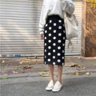 Dot Knit Skirt Black - One Size